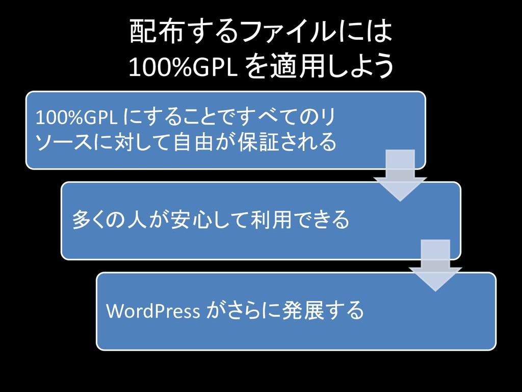 配布するファイルには 100%GPL を適用しよう 100%GPL にすることですべてのリ ソ...
