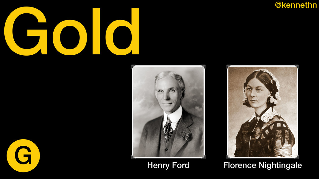 Gold @kennethn Henry Ford Florence Nightingale G