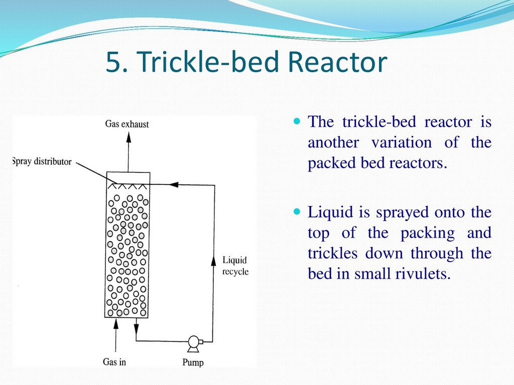 5. Trickle-bed Reactor  The trickle-bed reacto...