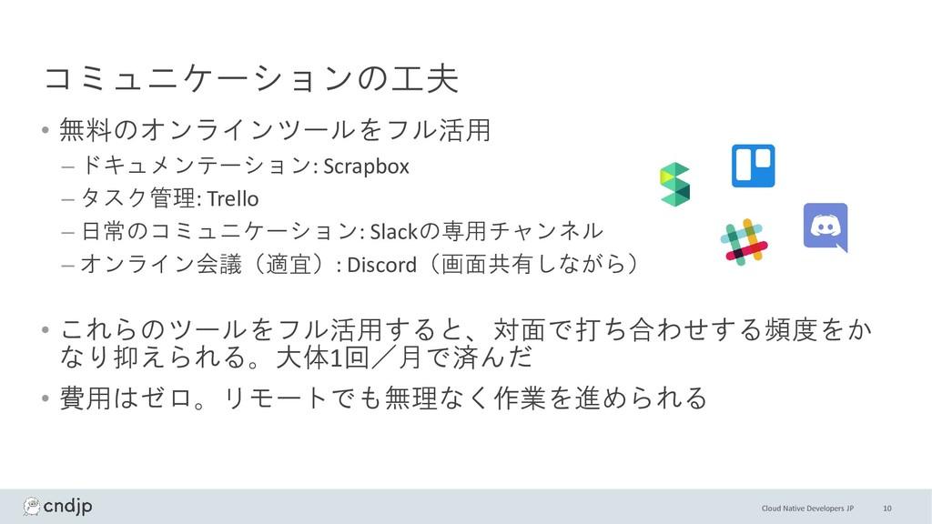 Cloud Native Developers JP コミュニケーションの工夫 • 無料のオン...