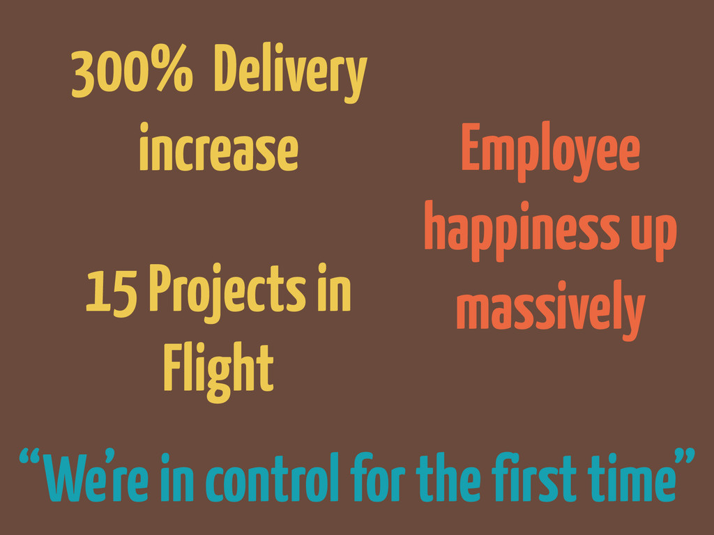 "Employee happiness up massively ""We're in contr..."