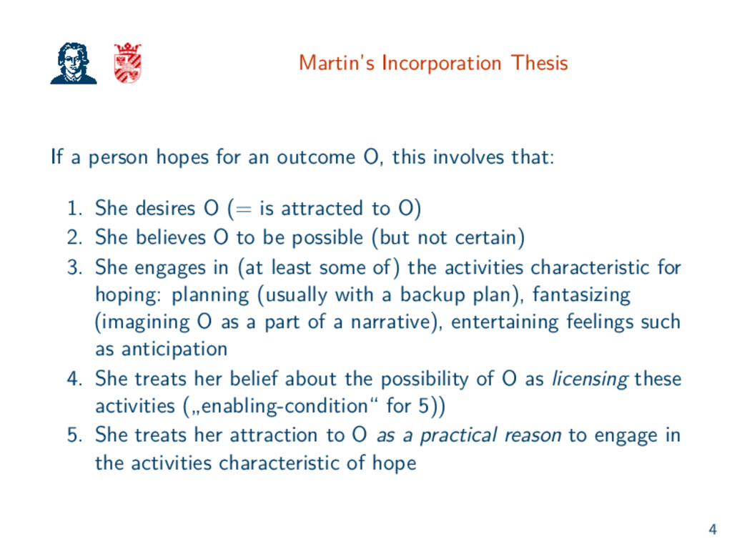 Martin's Incorporation Thesis If a person hopes...