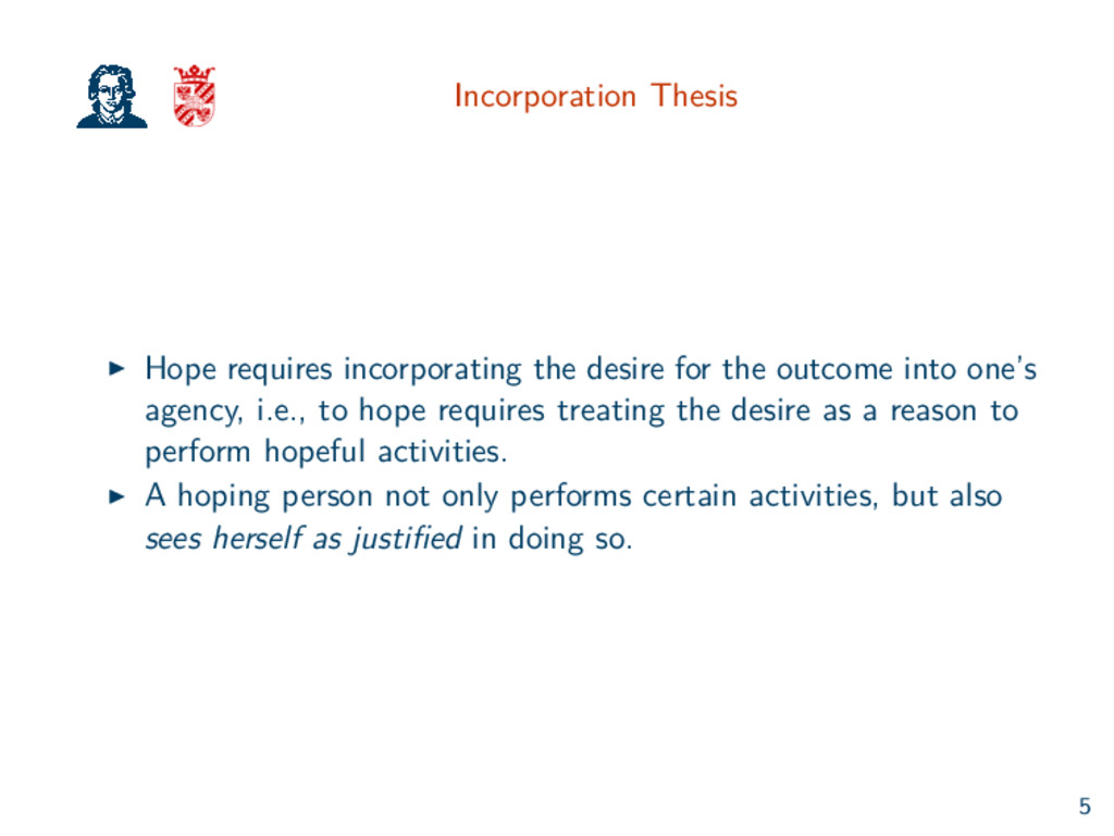 Incorporation Thesis Hope requires incorporatin...