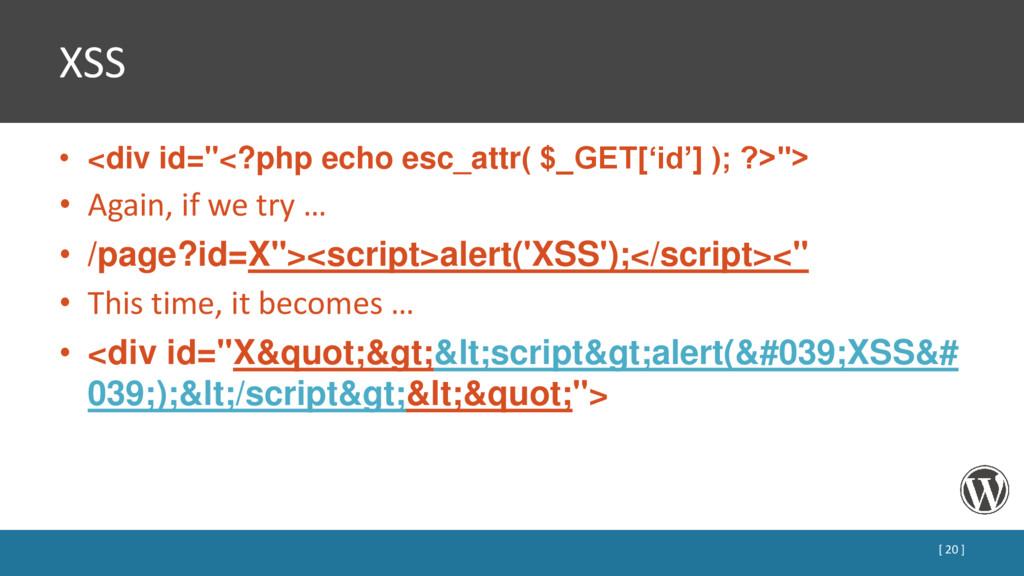 """XSS • <div id=""""<?php echo esc_attr( $_GET['id']..."""