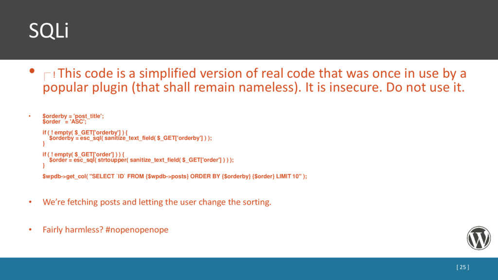 SQLi • ! This code is a simplified version of r...
