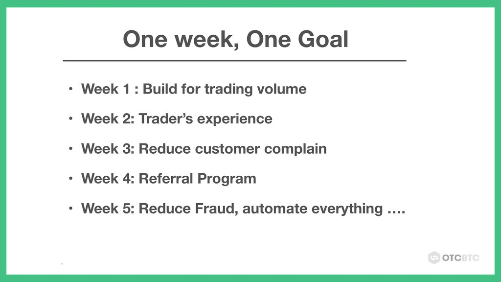 • Week 1 : Build for trading volume • Week 2: T...