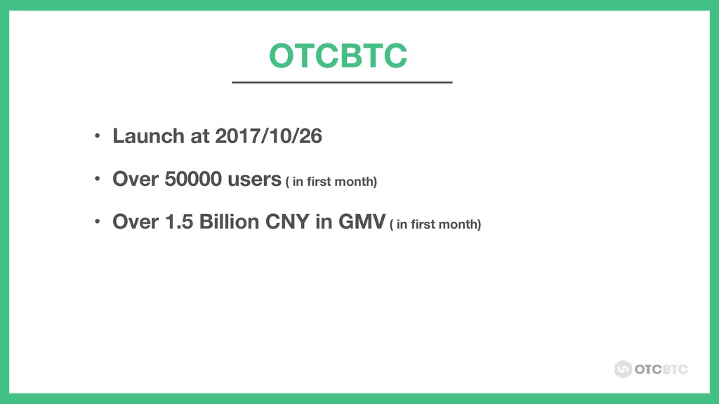 OTCBTC • Launch at 2017/10/26 • Over 50000 user...