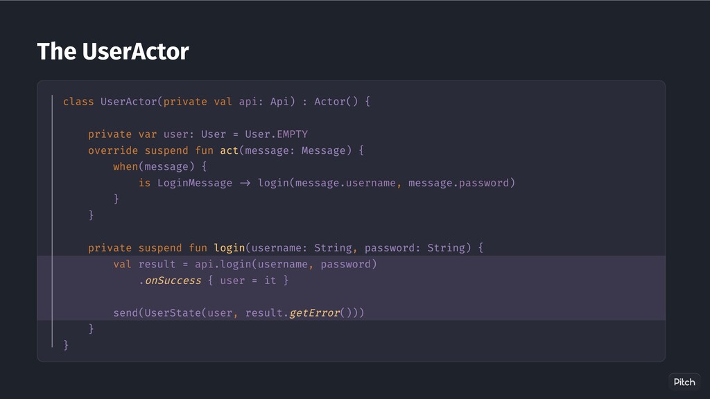 The UserActor class UserActor(private val api: ...