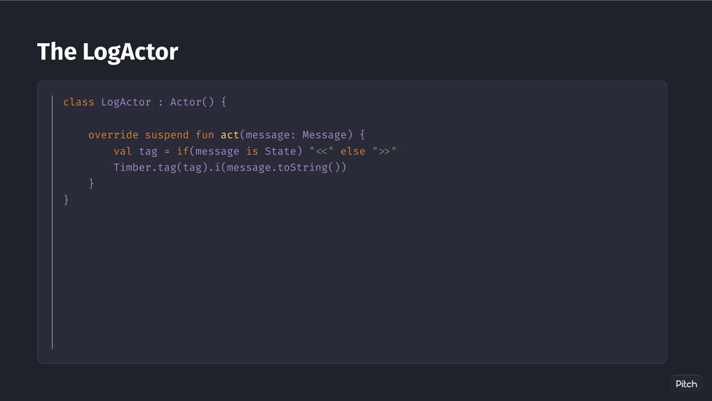 The LogActor class LogActor : Actor() { overrid...