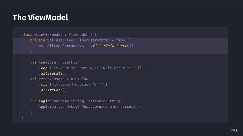 The ViewModel class MainViewModel : ViewModel()...
