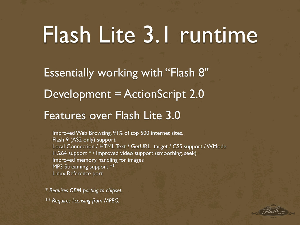 Flash Lite 3.1 runtime Improved Web Browsing, 9...