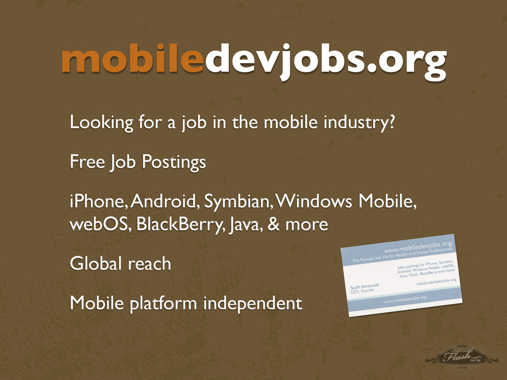 mobiledevjobs.org Looking for a job in the mobi...