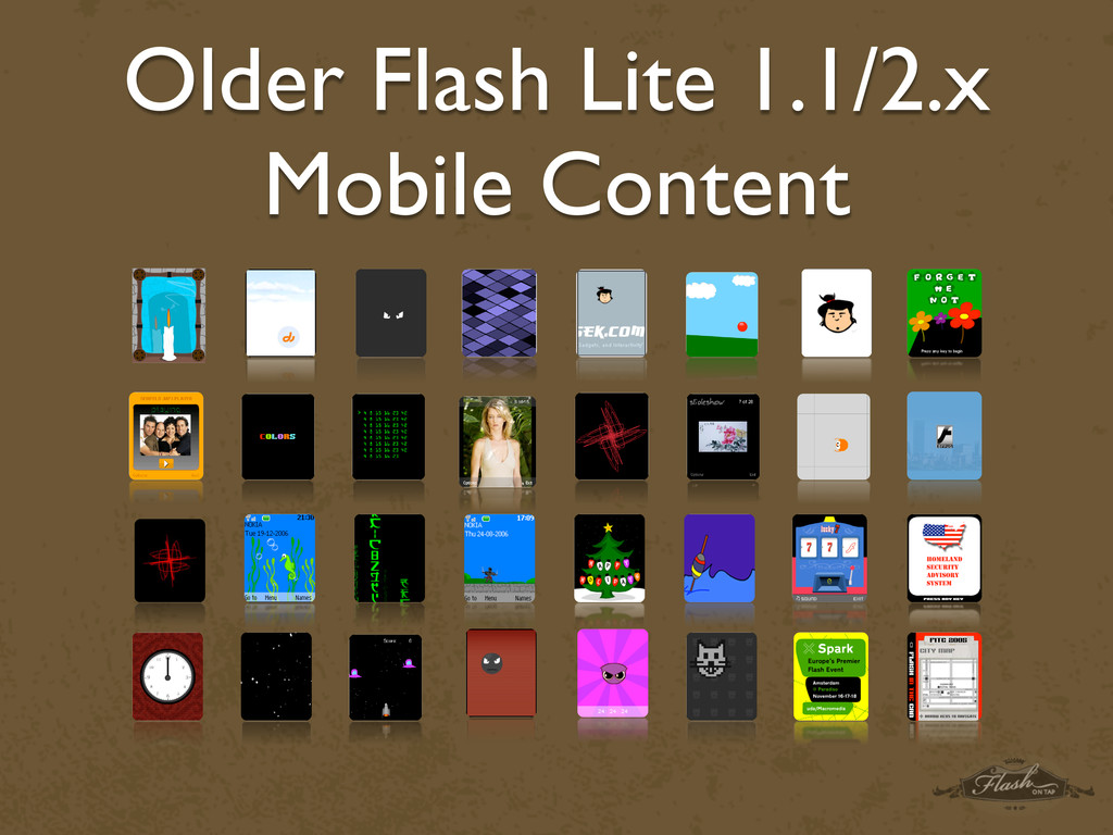 Older Flash Lite 1.1/2.x Mobile Content