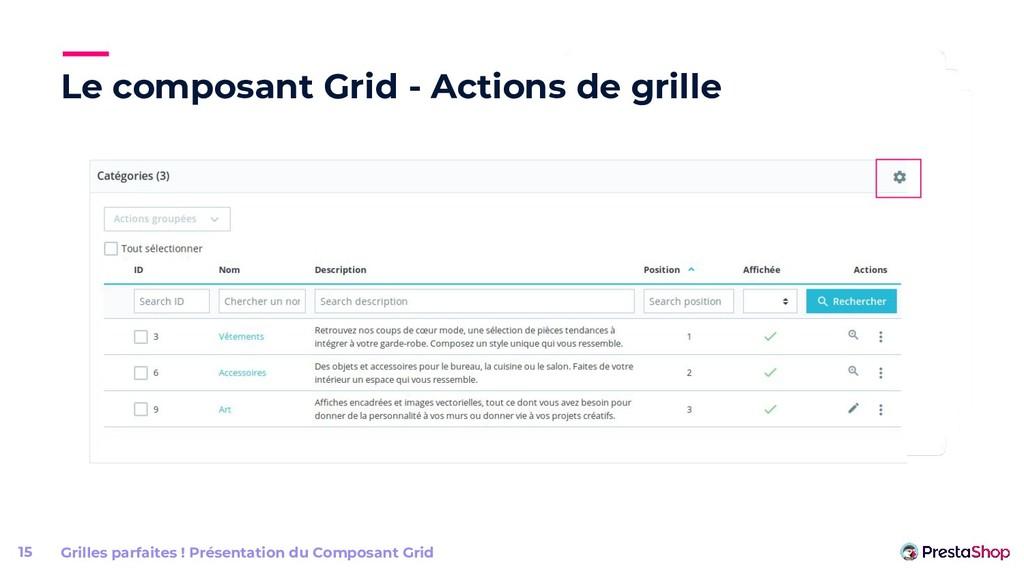 Le composant Grid - Actions de grille Grilles p...