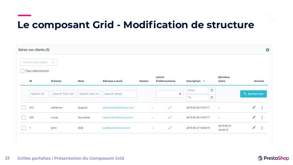 Le composant Grid - Modification de structure Gr...