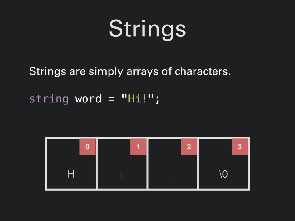 Strings Strings are simply arrays of characters...