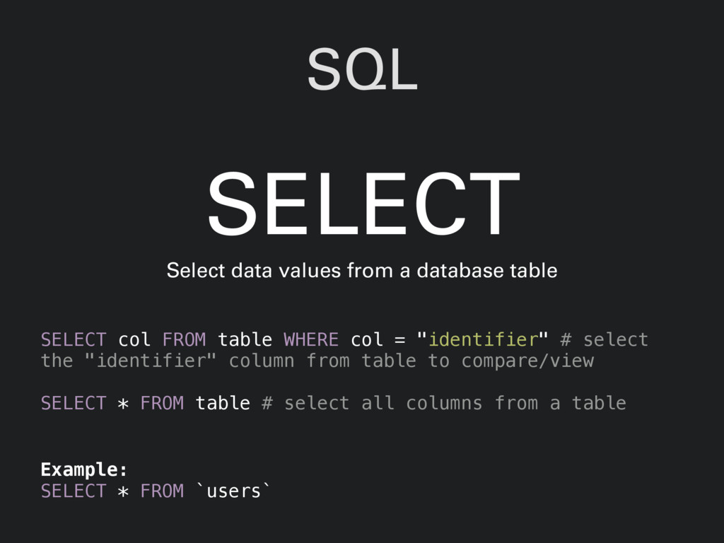 "SQL SELECT col FROM table WHERE col = ""identifi..."