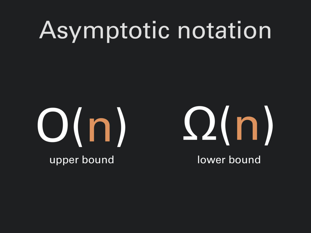 Asymptotic notation O(n) upper bound Ω(n) lower...