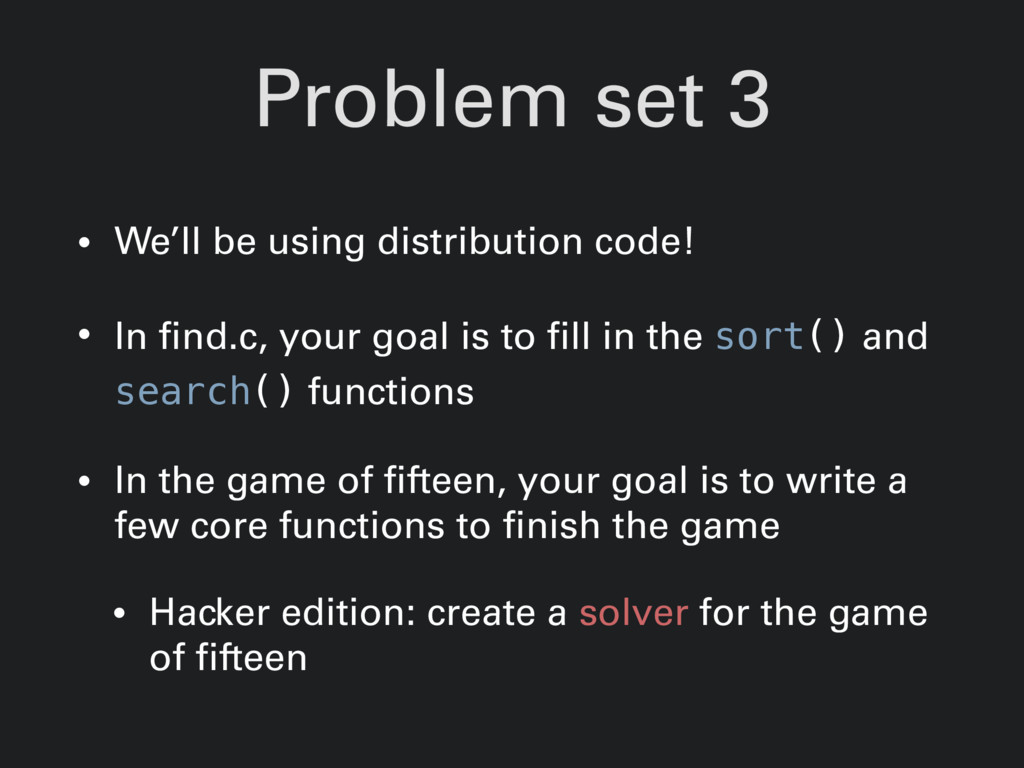 Problem set 3 • We'll be using distribution cod...