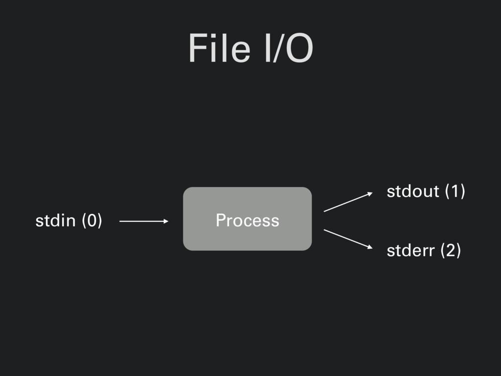 File I/O Process stdin (0) stdout (1) stderr (2)