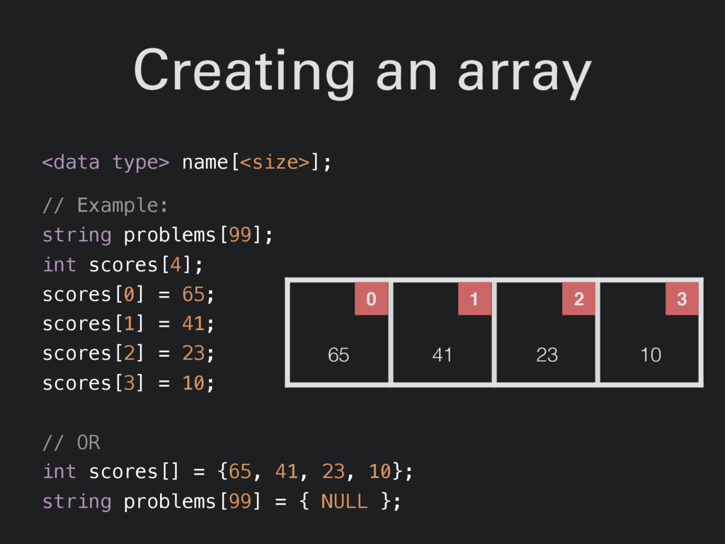 Creating an array <data type> name[<size>]; // ...