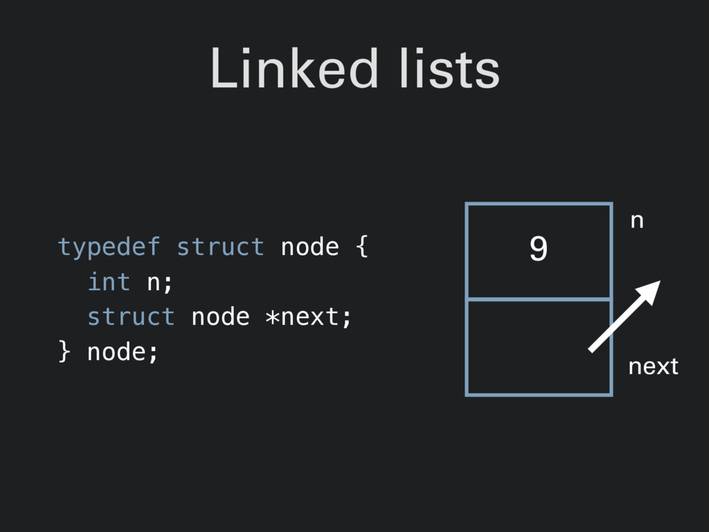 Linked lists typedef struct node { int n; struc...