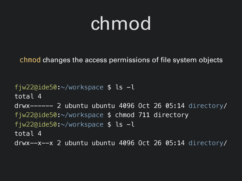 chmod chmod changes the access permissions of f...