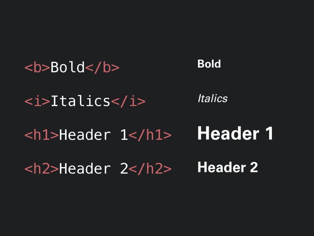 <b>Bold</b> <i>Italics</i> <h1>Header 1</h1> <h...