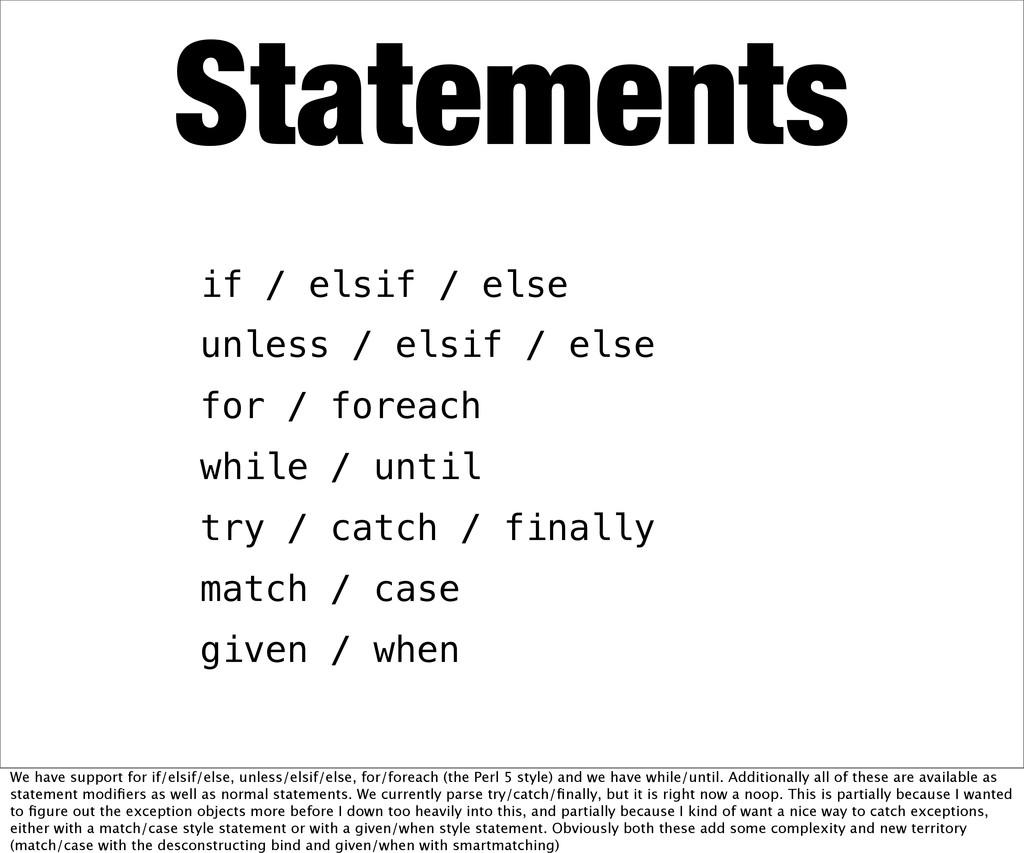 Statements if / elsif / else unless / elsif / e...