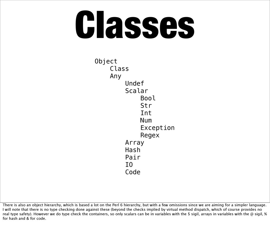 Classes Object Class Any Undef Scalar Bool Str ...