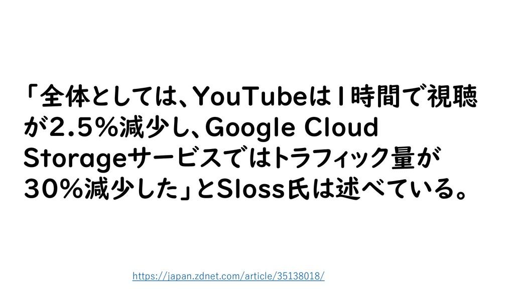 「全体としては、YouTubeは1時間で視聴 が2.5%減少し、Google Cloud St...