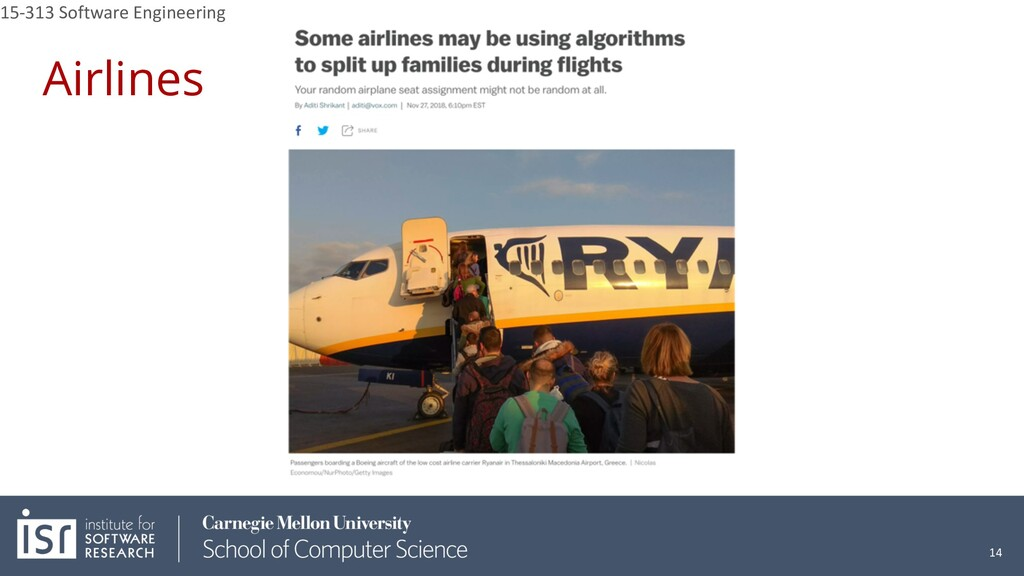 Airlines 15-313 Software Engineering 14