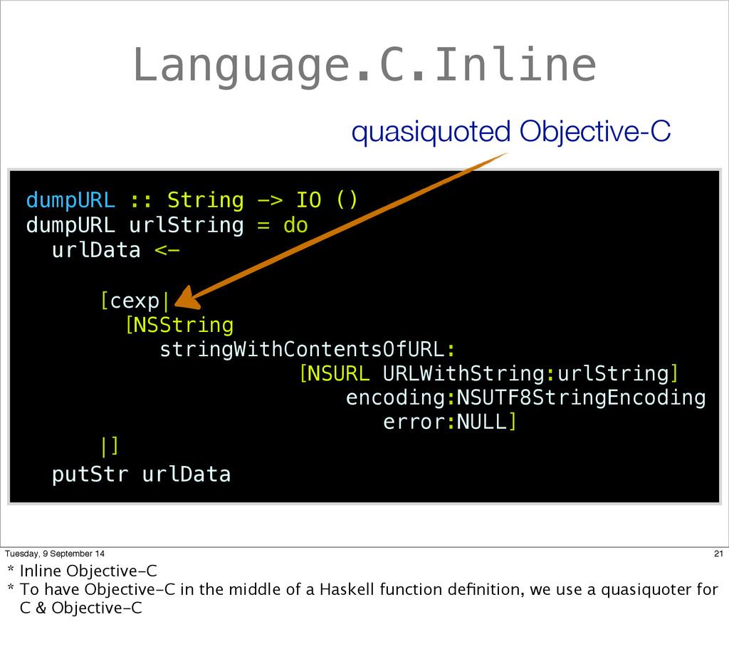 Language.C.Inline dumpURL :: String -> IO () du...