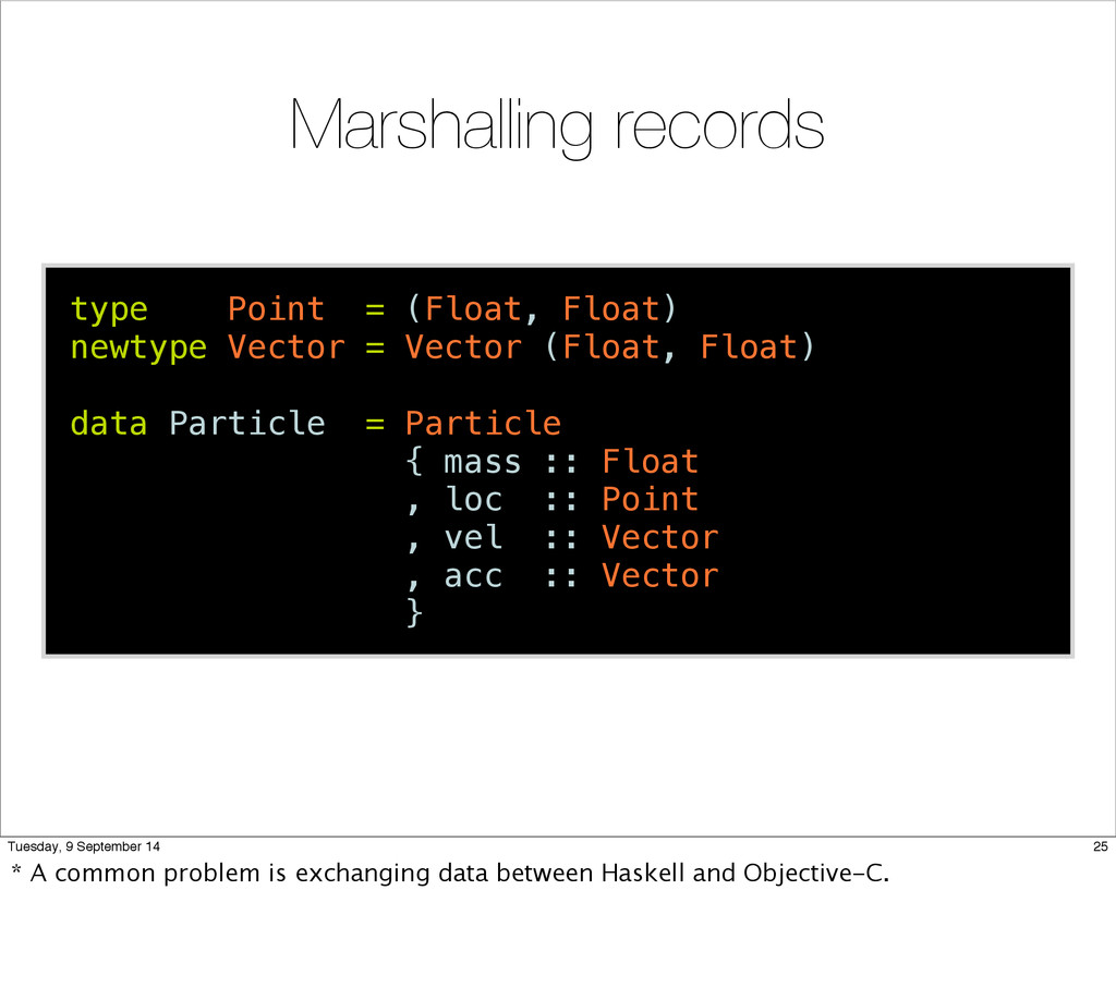 Marshalling records type Point = (Float, Float)...