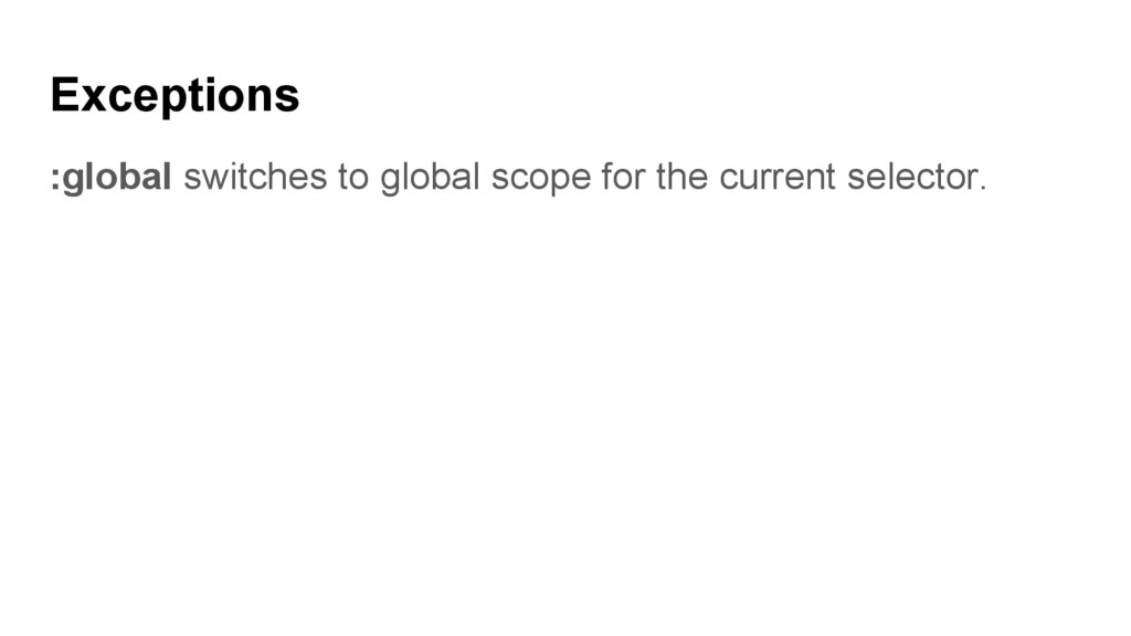 Exceptions :global switches to global scope for...