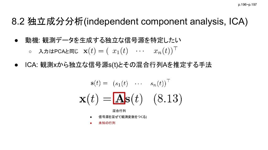 8.2 独立成分分析(independent component analysis, ICA)...