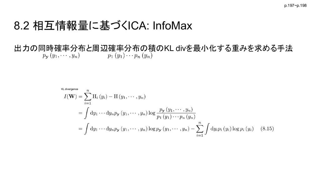 8.2 相互情報量に基づくICA: InfoMax 出力の同時確率分布と周辺確率分布の積のKL...