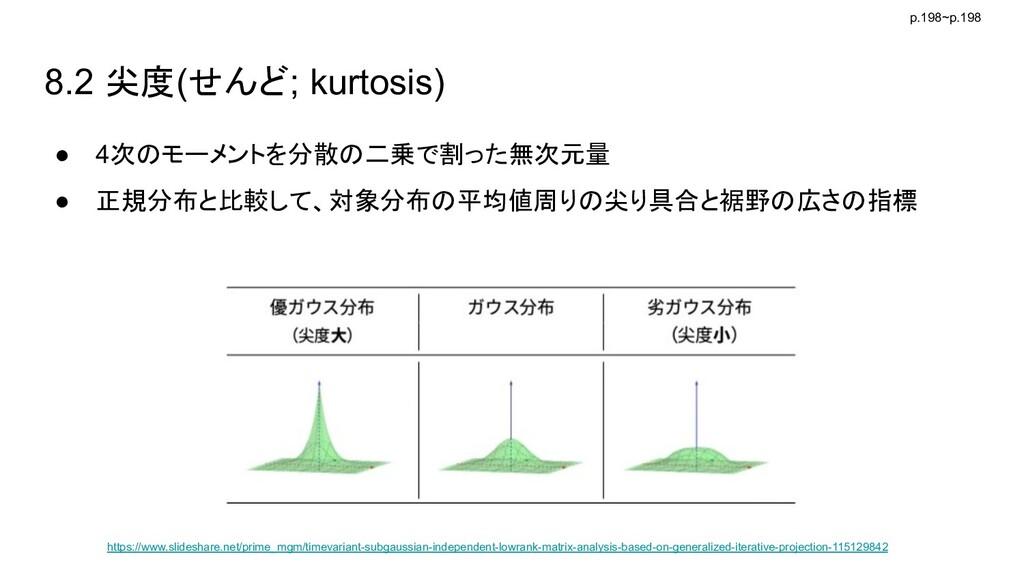 8.2 尖度(せんど; kurtosis) ● 4次のモーメントを分散の二乗で割った無次元量 ...