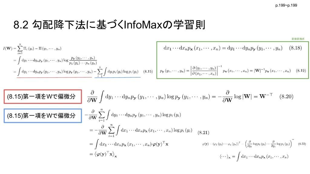 8.2 勾配降下法に基づくInfoMaxの学習則 p.199~p.199 (8.15)第一項を...