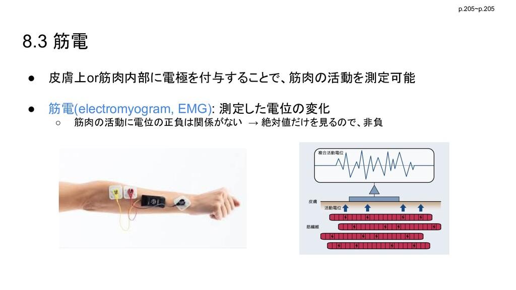 8.3 筋電 ● 皮膚上or筋肉内部に電極を付与することで、筋肉の活動を測定可能 ● 筋電(e...