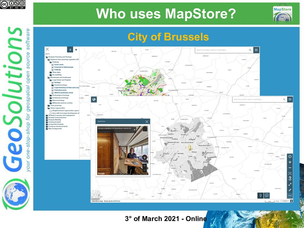 Who uses MapStore? City of Brussels 3° of March...