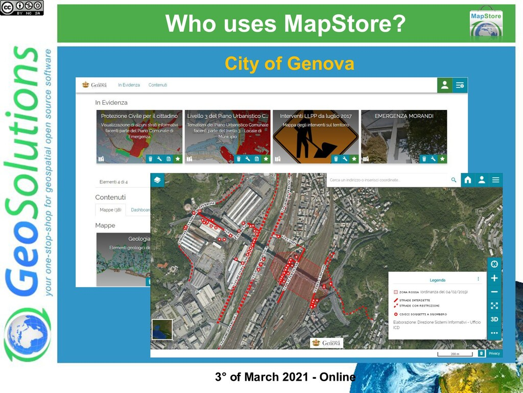 Who uses MapStore? City of Genova 3° of March 2...