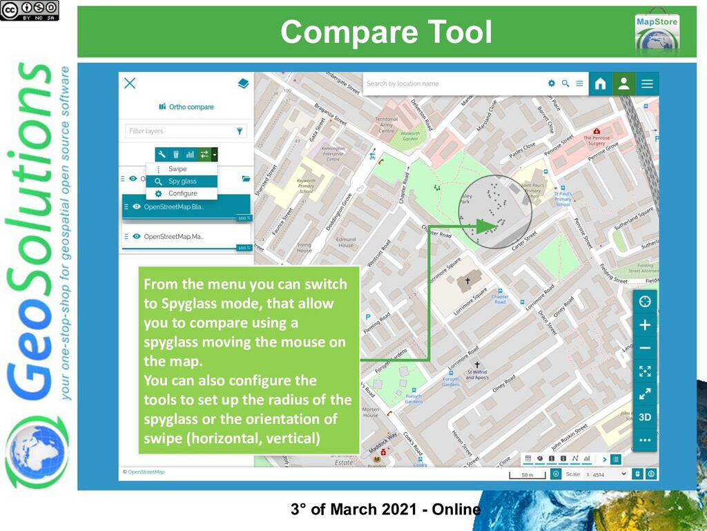 Compare Tool From the menu you can switch to Sp...