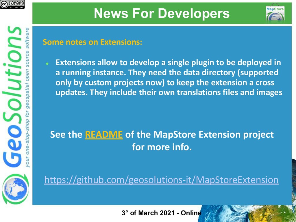 News For Developers Some notes on Extensions: ●...