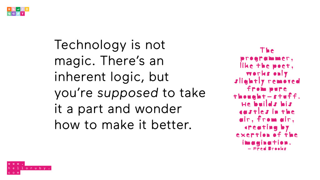 Technology is not magic. There's an inherent lo...