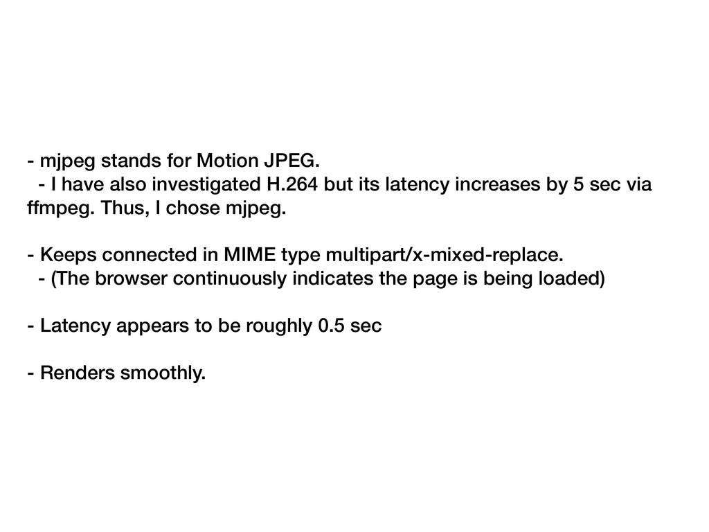 - mjpeg stands for Motion JPEG. - I have also i...