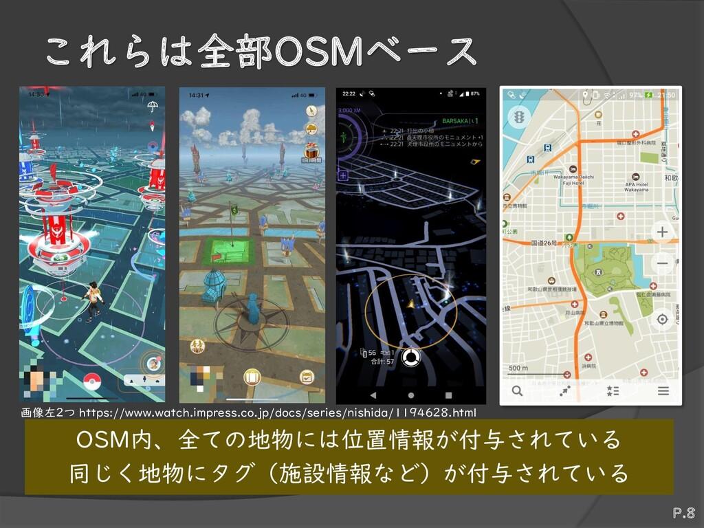 これらは全部OSMベース OSM内、全ての地物には位置情報が付与されている 同じく地物にタグ(...