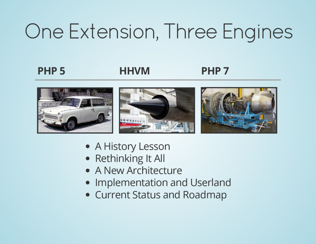 One Extension, Three Engines PHP 5 HHVM PHP 7 A...