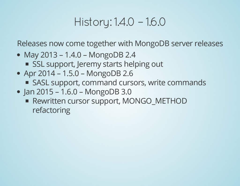 History: 1.4.0 – 1.6.0 Releases now come togeth...