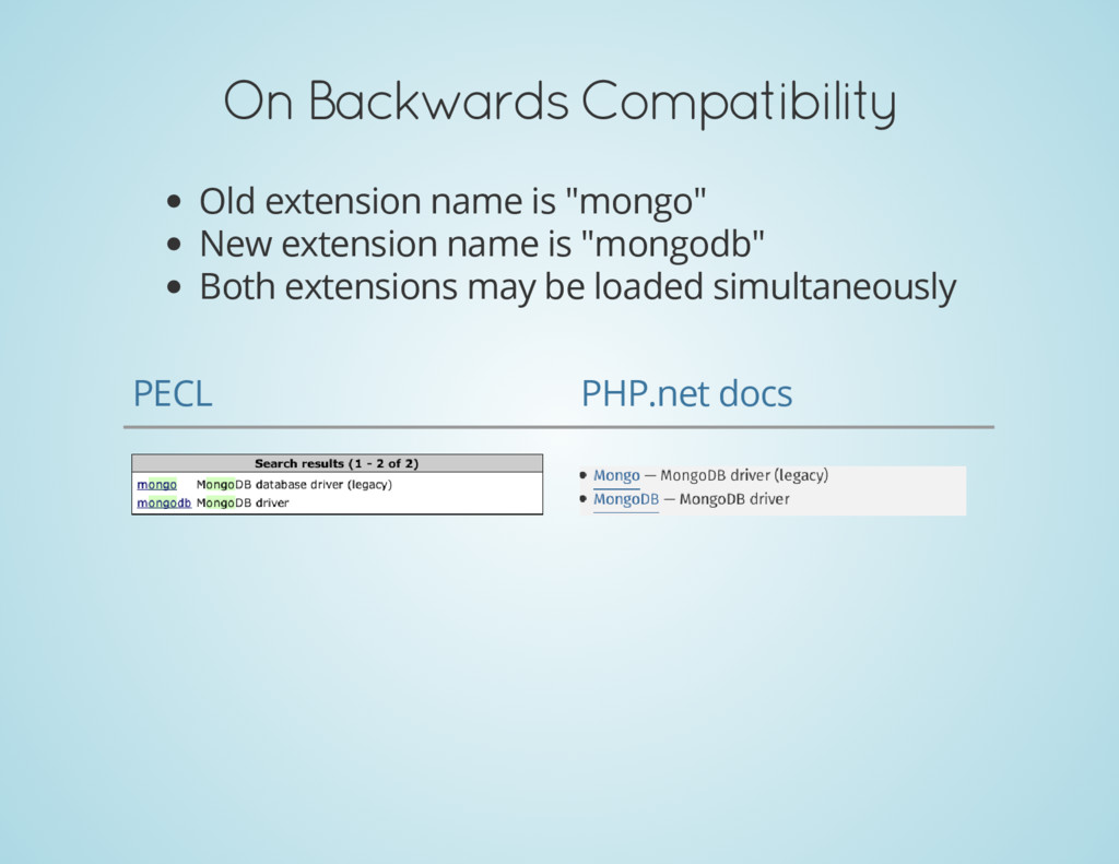 On Backwards Compatibility Old extension name i...